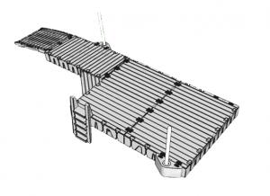 Badbrygga Rotodock 8,9 x 1,5 meter med en avsats längst ut som är 4×3 meter, Flytkapacitet 4.950kg